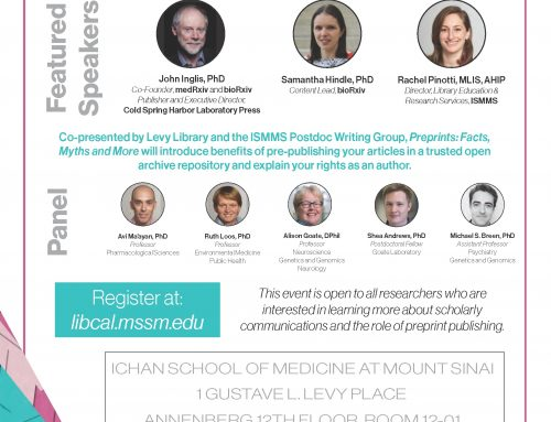 Preprints Free Event at Icahn School of Medicine at Mount Sinai – Tuesday, October 1 2019, 3PM